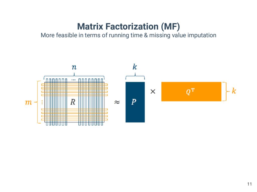 Matrix Factorization (MF) More feasible in term...