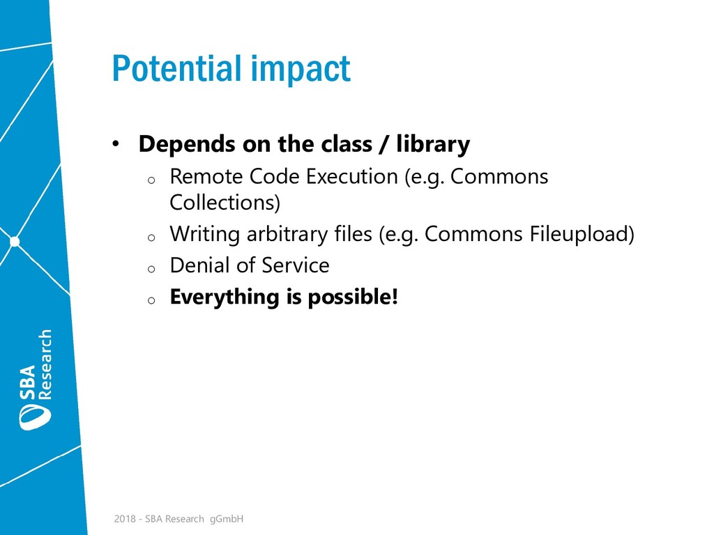 Potential impact • Depends on the class / libra...
