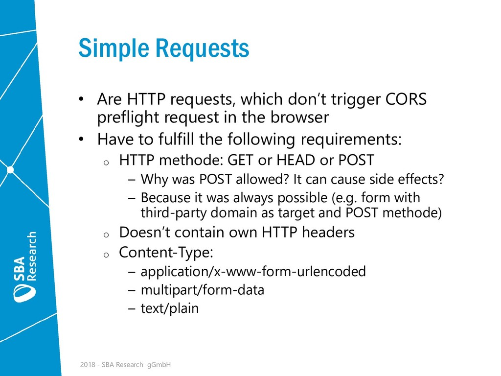 Simple Requests • Are HTTP requests, which don'...