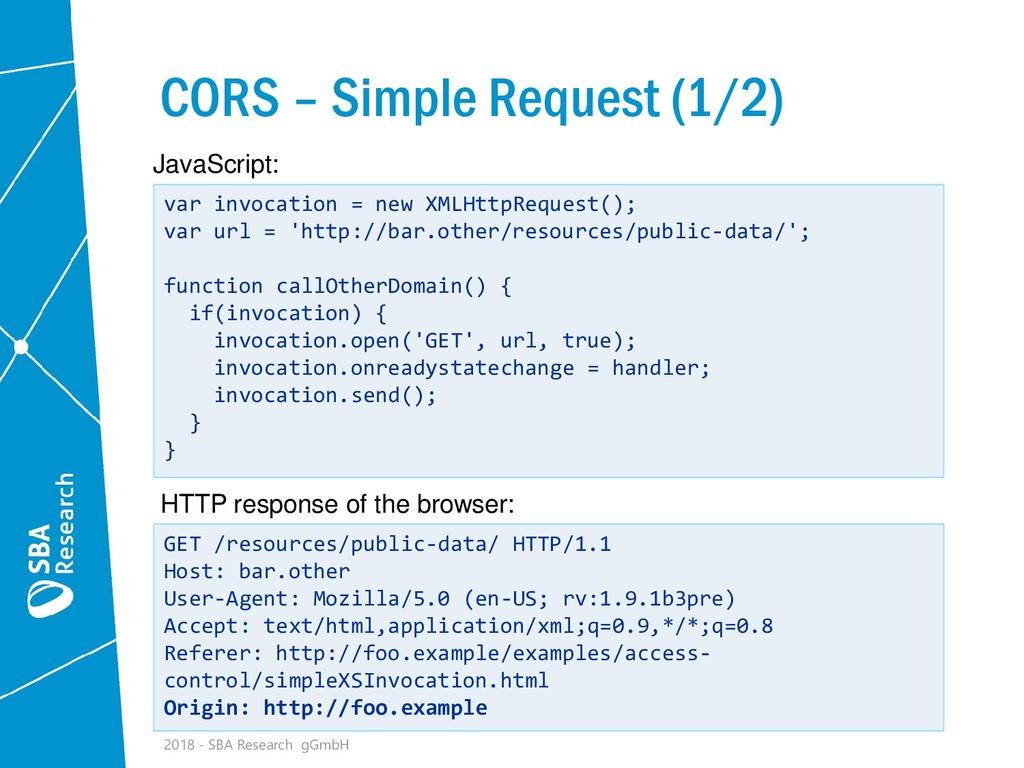 CORS – Simple Request (1/2) var invocation = ne...