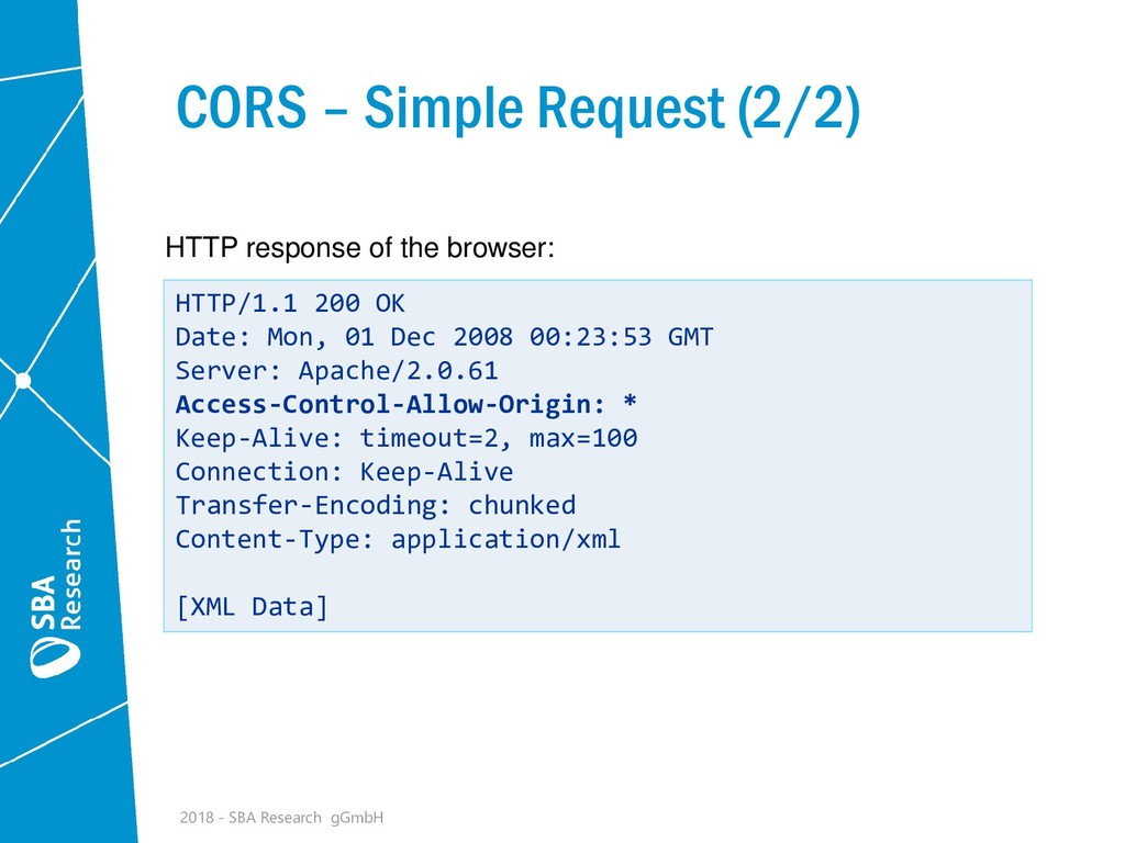 CORS – Simple Request (2/2) HTTP/1.1 200 OK Dat...