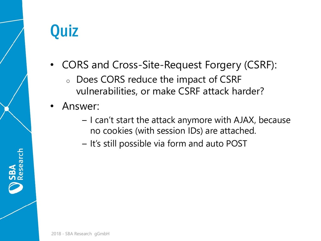 Quiz • CORS and Cross-Site-Request Forgery (CSR...