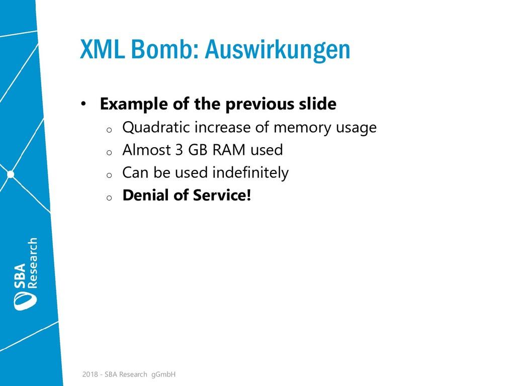 XML Bomb: Auswirkungen • Example of the previou...