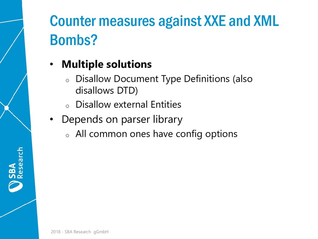 Counter measures against XXE and XML Bombs? • M...