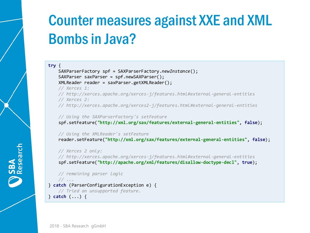 Counter measures against XXE and XML Bombs in J...