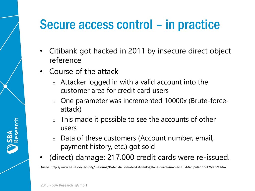 Secure access control – in practice • Citibank ...