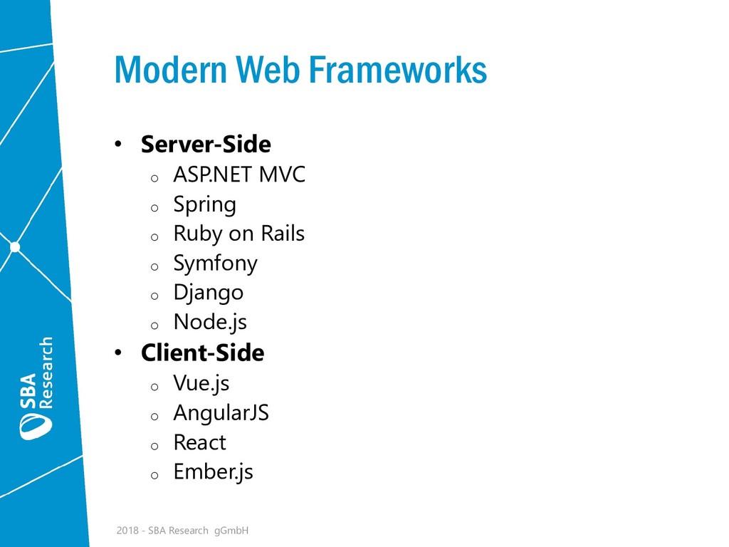Modern Web Frameworks • Server-Side o ASP.NET M...