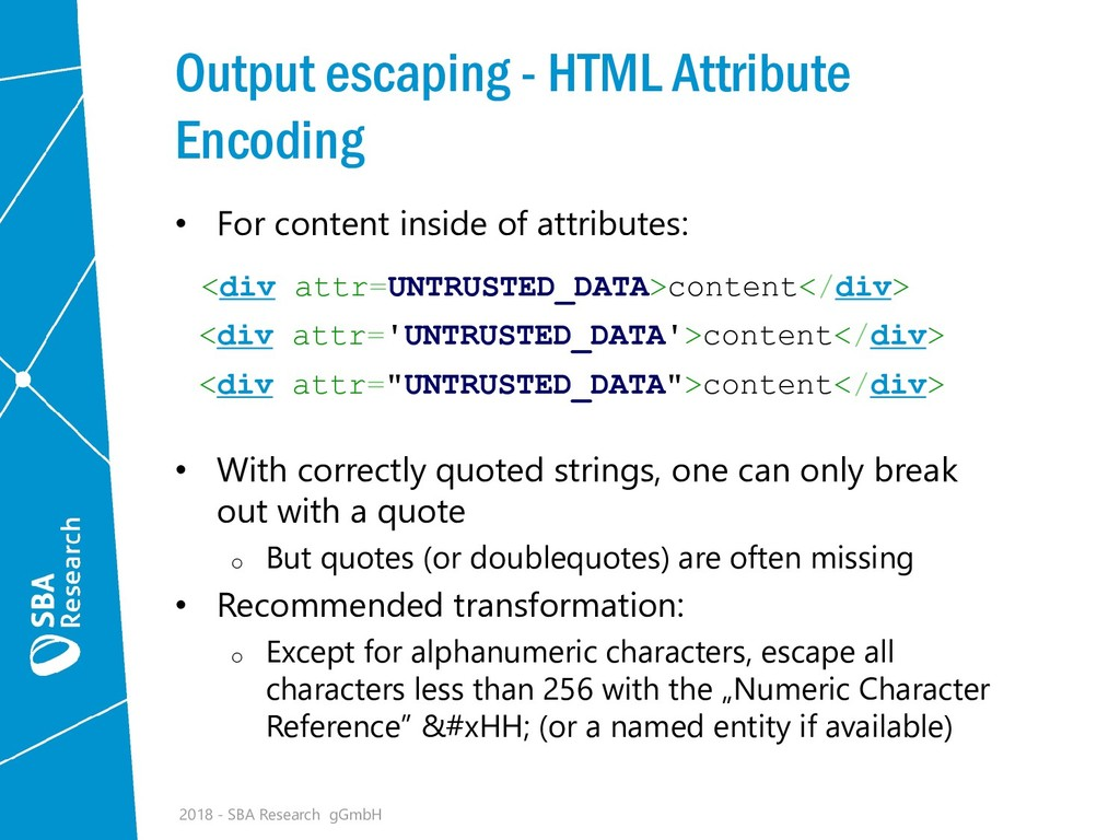 Output escaping - HTML Attribute Encoding • For...