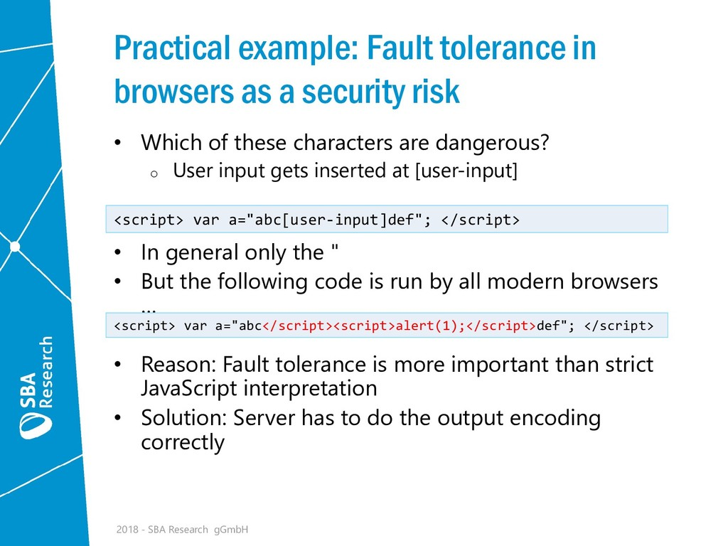 Practical example: Fault tolerance in browsers ...