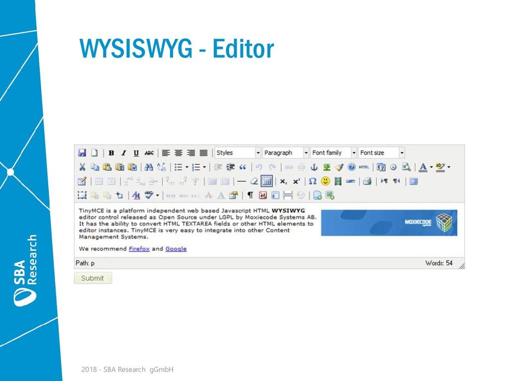 WYSISWYG - Editor 2018 - SBA Research gGmbH