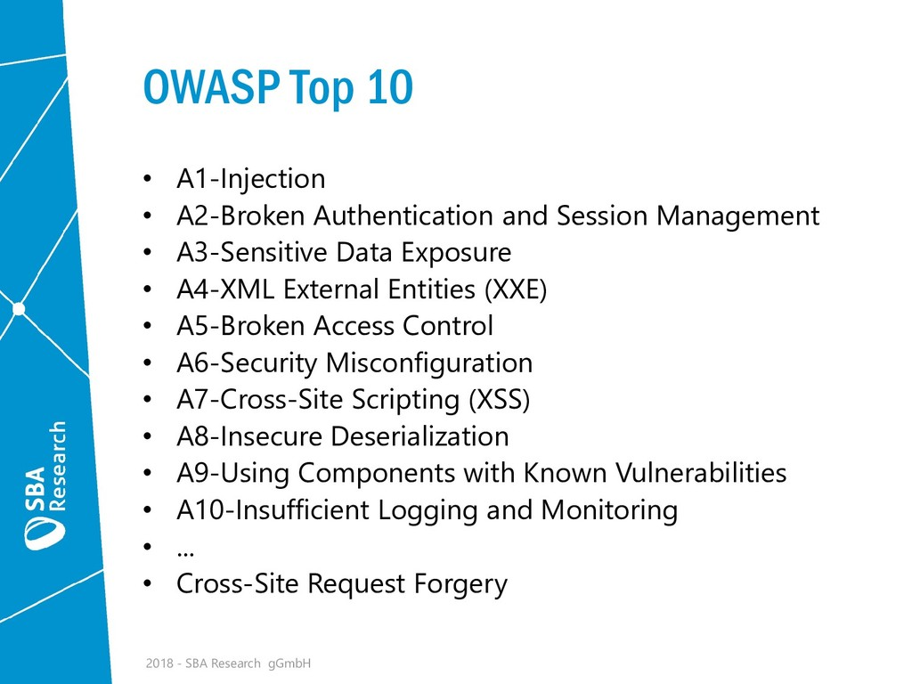 OWASP Top 10 • A1-Injection • A2-Broken Authent...