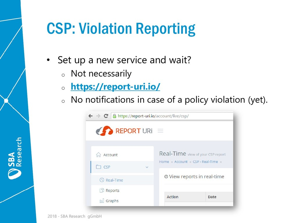 CSP: Violation Reporting • Set up a new service...