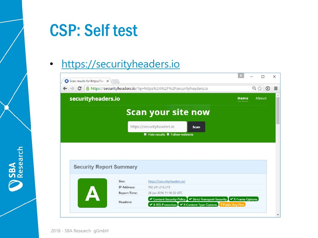 CSP: Self test • https://securityheaders.io 201...