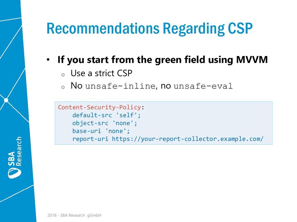Recommendations Regarding CSP • If you start fr...