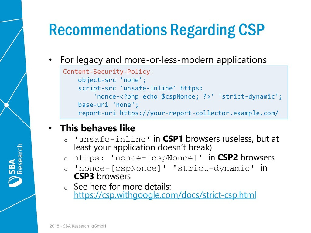 Recommendations Regarding CSP • For legacy and ...