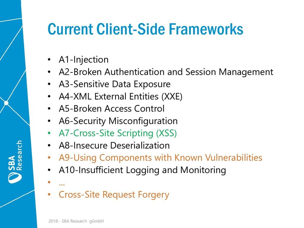 Current Client-Side Frameworks • A1-Injection •...
