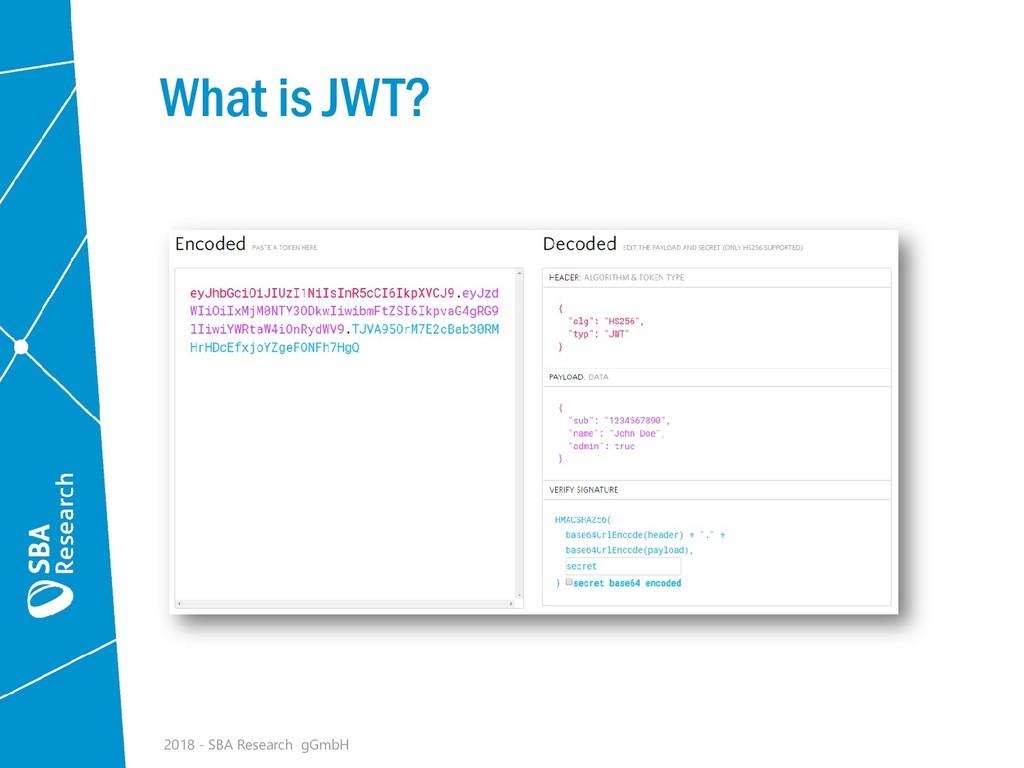What is JWT? 2018 - SBA Research gGmbH