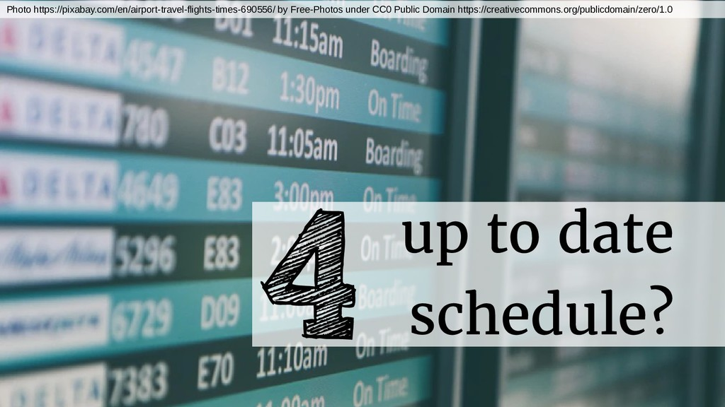 up to date schedule? 4 Photo https://pixabay.co...