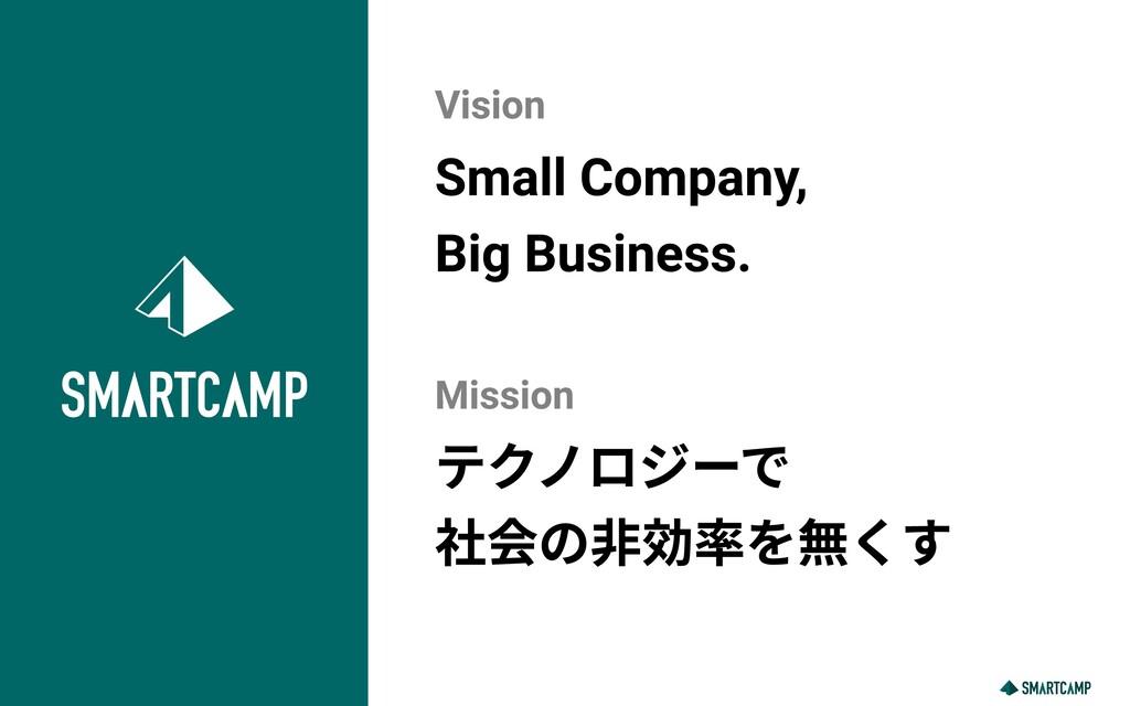 Small Company,   Big Business. テクノロジーで  社会の非効率を...