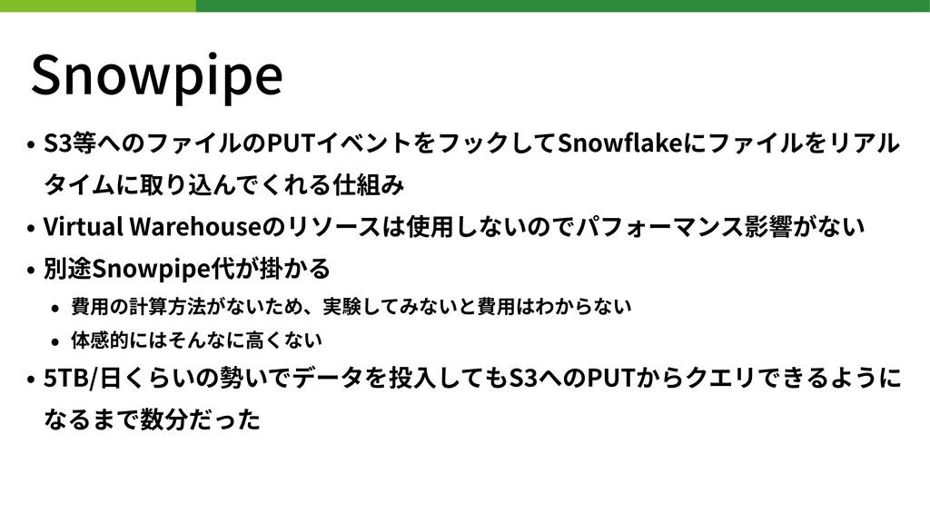 Snowpipe • S 等へのファイルのPUTイベントをフックしてSnowflakeにファイル...