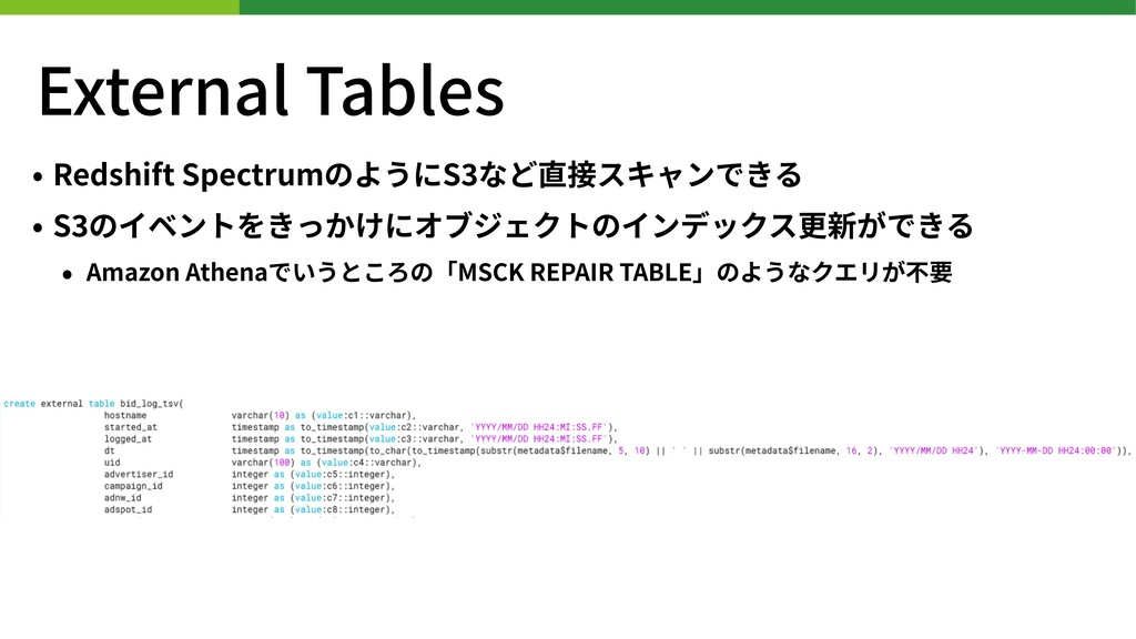 External Tables • Redshift SpectrumのようにS など直接スキ...