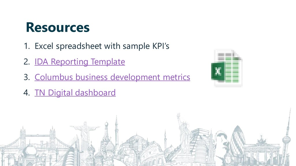 Resources 1. Excel spreadsheet with sample KPI'...