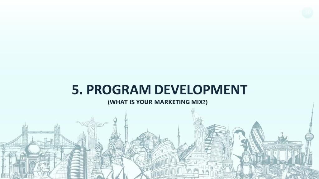 50 5. PROGRAM DEVELOPMENT (WHAT IS YOUR MARKETI...