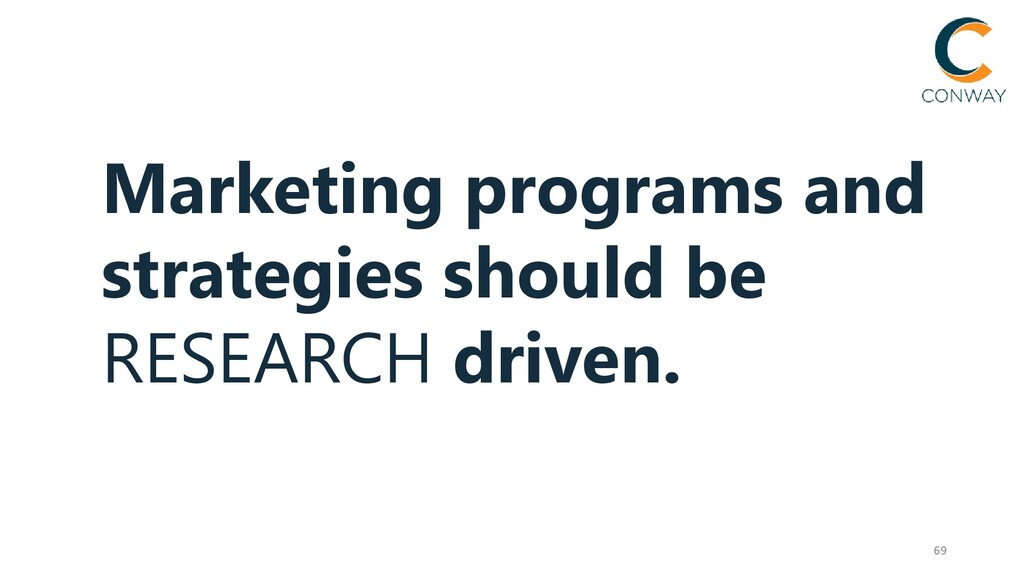 69 Marketing programs and strategies should be ...
