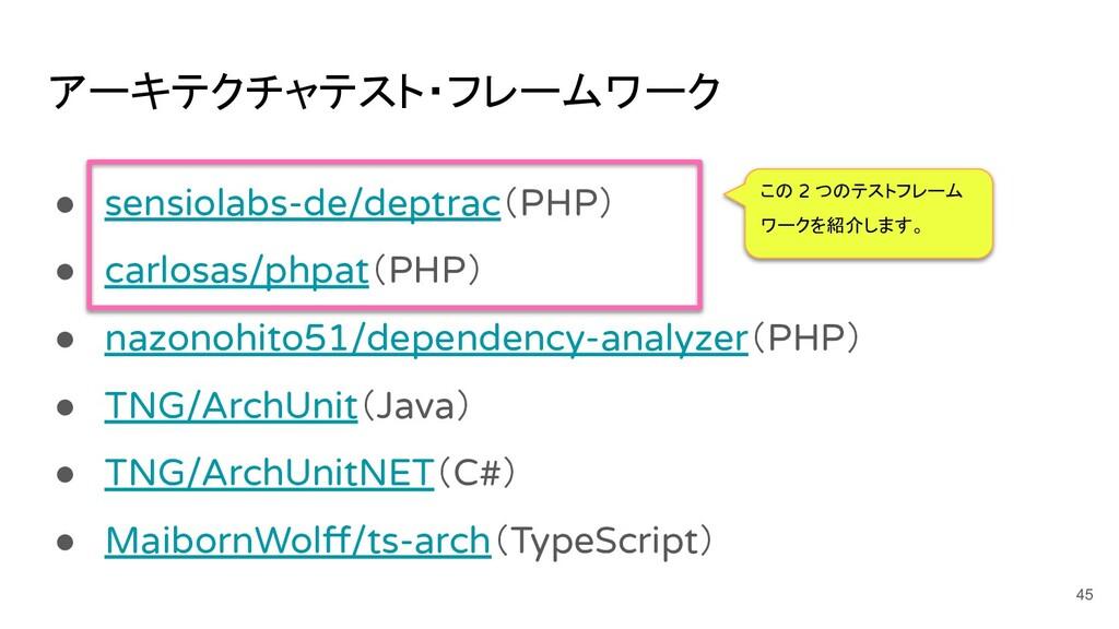 アーキテクチャテスト・フレームワーク ● sensiolabs-de/deptrac(PHP)...
