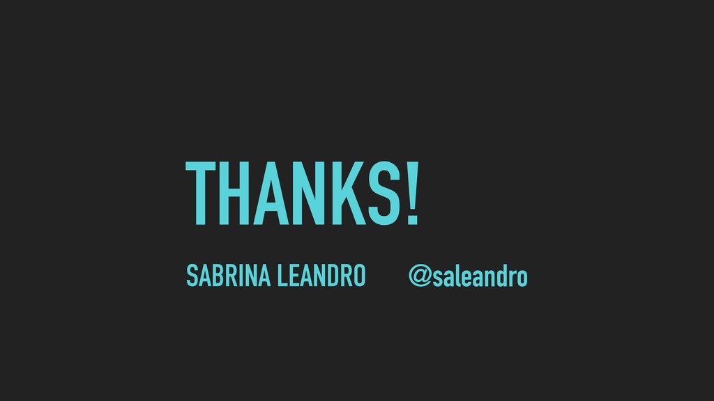 THANKS! @saleandro SABRINA LEANDRO