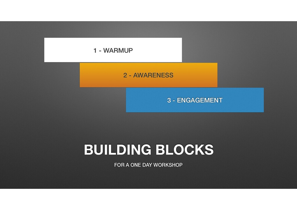 BUILDING BLOCKS FOR A ONE DAY WORKSHOP 1 - WARM...