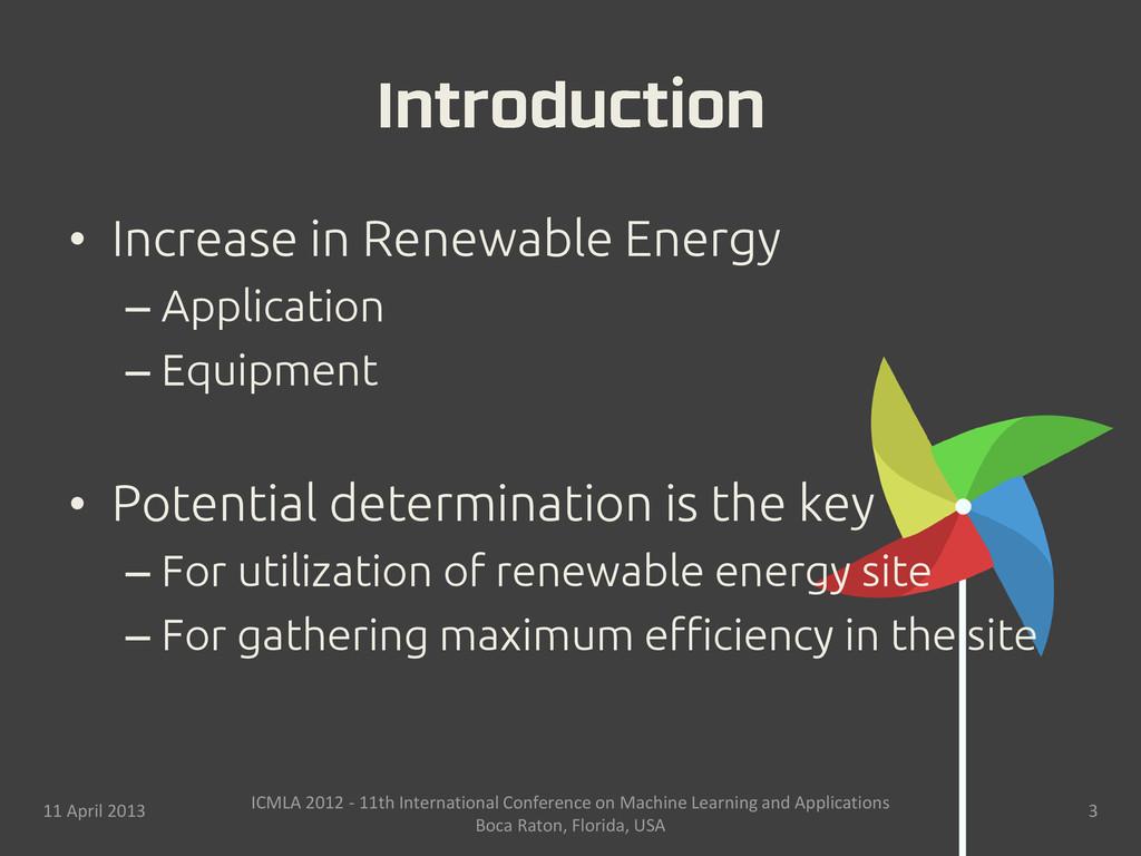 • Increase in Renewable Energy – Application – ...