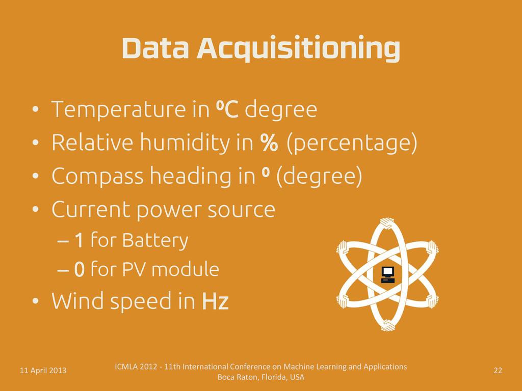 • Temperature in ⁰C degree • Relative humidity ...