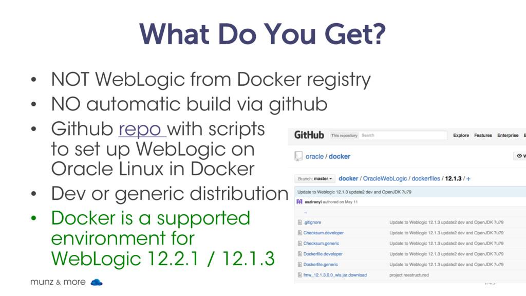 What Do You Get? • NOT WebLogic from Docker reg...