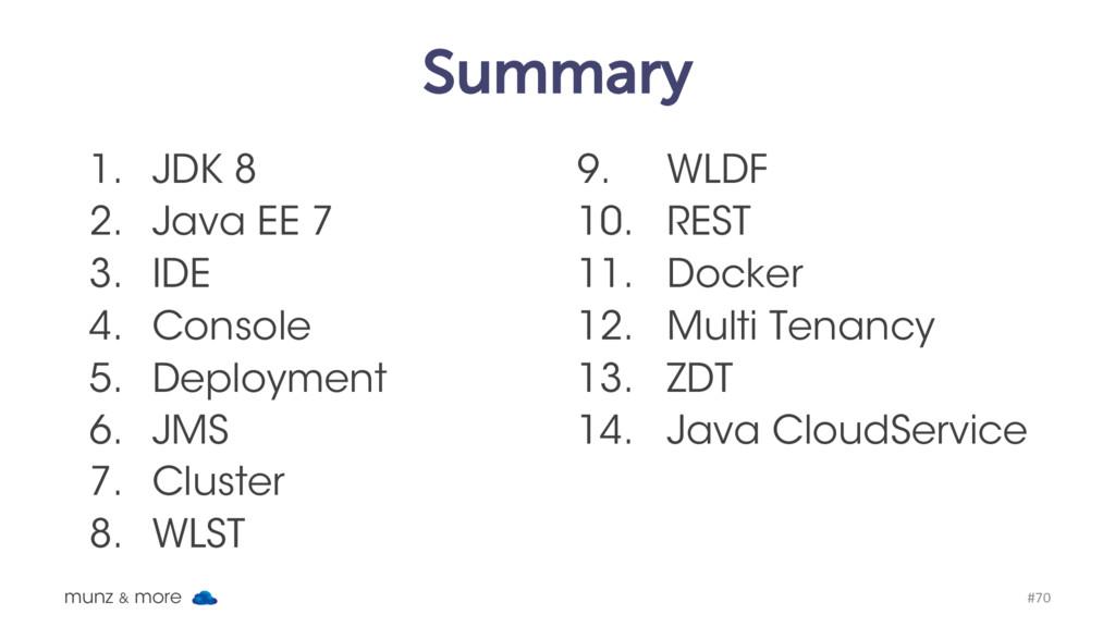 Summary 1. JDK 8 2. Java EE 7 3. IDE 4. Console...