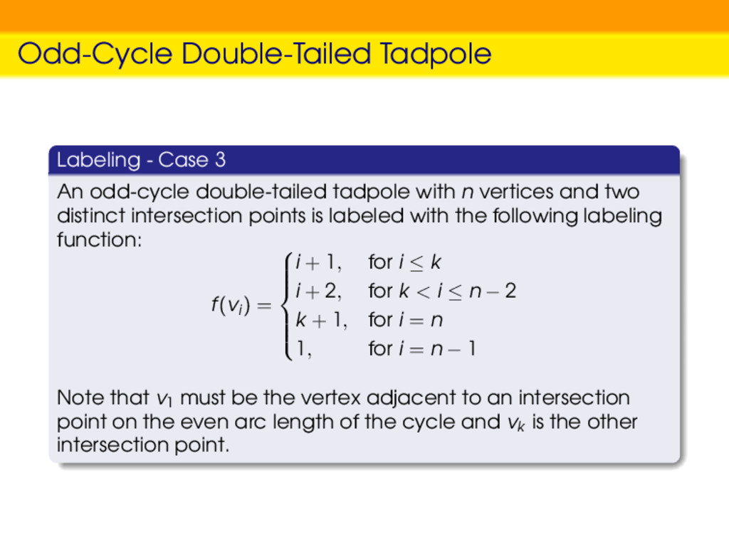 Odd-Cycle Double-Tailed Tadpole Labeling - Case...