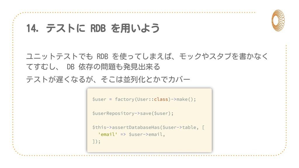 14. テストに RDB を用いよう ユニットテストでも RDB を使ってしまえば、モックやス...
