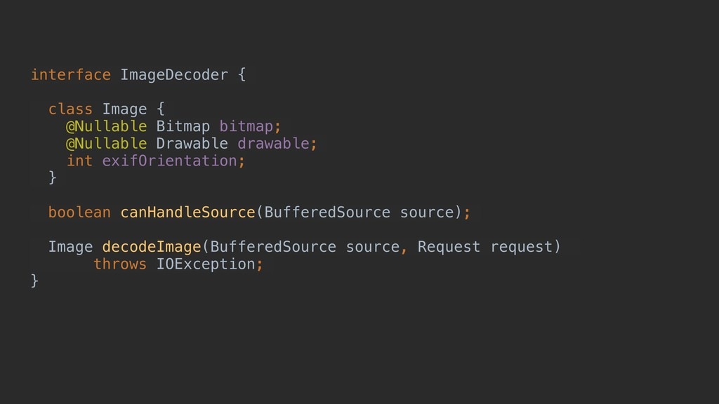 interface ImageDecoder { class Image { @Nullabl...