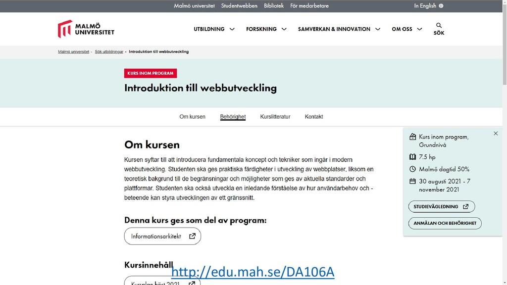 http://edu.mah.se/DA106A