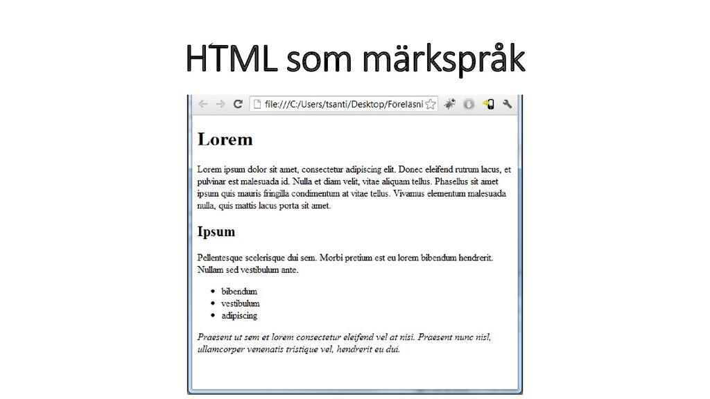 HTML som märkspråk
