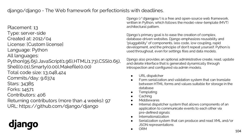 104 django/django - The Web framework for perfe...