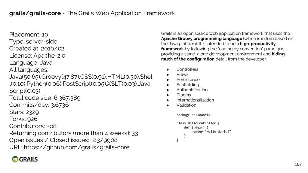 107 grails/grails-core - The Grails Web Applica...