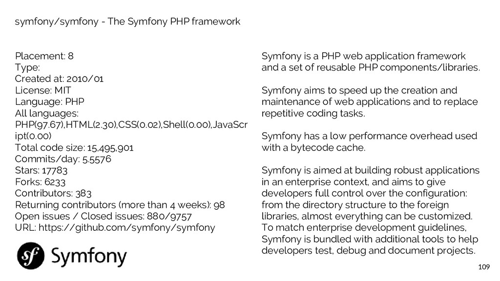 109 symfony/symfony - The Symfony PHP framework...