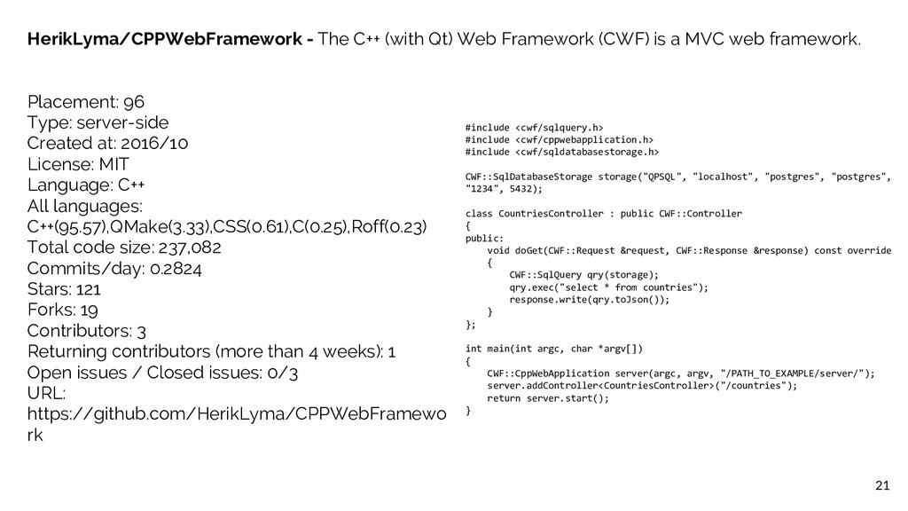 21 HerikLyma/CPPWebFramework - The C++ (with Qt...