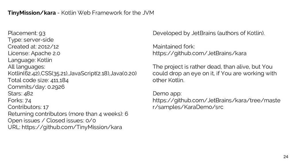 24 TinyMission/kara - Kotlin Web Framework for ...
